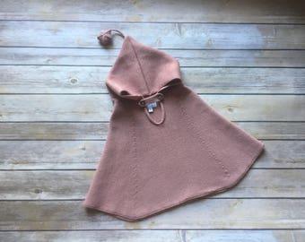 Knit hooded Baby/Toddler merino poncho 3D star