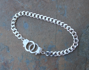 Handcuffs Sterling Silver Charm Bracelet- Heavy Solid Sterling Flat Curb Chain, Hand Cuff Clasps - Men & Women- Bright or Antiqued Silver