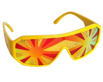 Rasslor Yellow Lava Flow Star Burst Shield Sunglasses