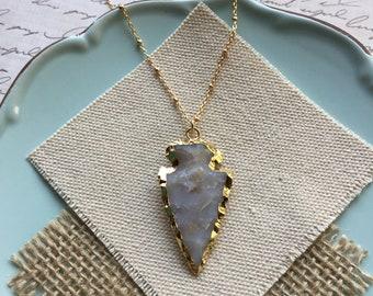 Arrowhead Necklace, Agate Arrowhead Pendant, Stone Pendant Necklace, Stone Arrowhead Necklace, Boho Necklace, Boho Jewelry Layering Necklace