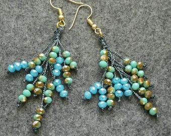 Aqua Blue & Turquoise Green Rondelle Beaded Dangle Earrings