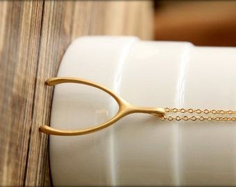 Jumbo Wishbone Necklace, Avilable in Matte Gold, Matte Silver, and Matte Rose Gold