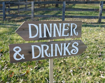Drinks Sign, Rehearsal Dinner Sign, Arrow Sign, Wooden Arrow Sign, Rustic Wood Sign, Rehearsal Dinner Decorations, Wood Directional Signs