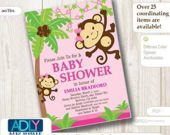 Personalized Pink Jungle Monkeys Baby Shower Printable DIY party invitation for girl - ONLY digital file - you print