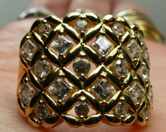 Gold over Sterling Silver lattice work Ring sz 5-3/4, Cz's.-7grms- front 15X22mm- beautiful 1838