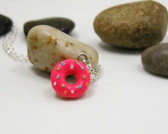 Pink Doughnut Necklace - Donut Pendant - Baking Gift - Strawberry Doughnut Charm - Baking Charm - Gift Under 20 - Glazed Doughnut Charm