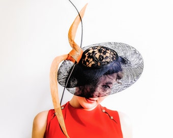 Ascot Style Designer Hat in Lace and  Sinamay Straw - Promotional Price