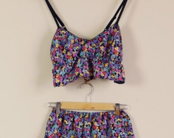 Rainbow Floral Print Twin Set Crop and Shorts 90s Sleepwear Cute Lolita 60s 70s 80s