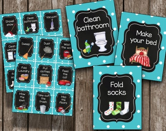 50% OFF SALE Chore Cards {INSTANT Download} Printable Chore Chart - Kids routines - Children - Chalkboard