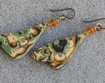 Dramatic polymer clay earrings in an organic green, gold and tan design
