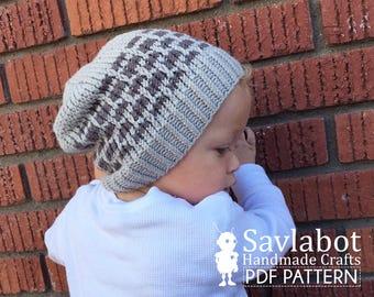 beanie pattern \ infant beanie \ slouchy knit beanie pattern \ PDF beanie pattern no. 002