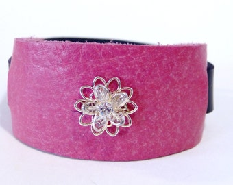Leather cuff, leather bracelet, Pink Leather Swarovski crystal cuff