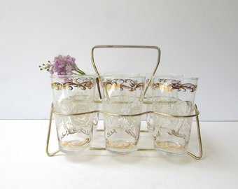 Mid Century Barware - Set of 6 Libbey White Rose and Gold Pattern Glasses with Holder -  White Roses with Gold - Lemon Aid Set