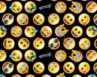 Emoji Fabric: Classic Yellow Emoji Faces  - Emoticons Toss on Black 100% cotton Fabric (DA2)