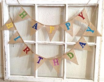 Birthday Banner, Happy Birthday Mini Banner, Birthday Decoration, High Chair Banner, Birthday Bunting, Party Decor, Personalized Party Decor