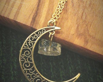 """24"""" Gold Plated Moon & Stone Natural Necklace - Boho, Gypsy, Wild, Nature"""