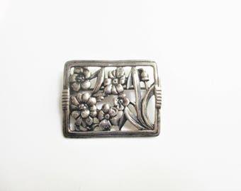Vintage Sterling Brooch Floral Danecraft Rectangular Pin