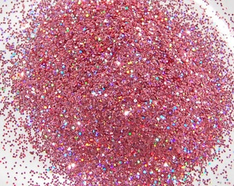 Rainbow Rose SOLVENT RESISTANT HOLOGRAPHIC Glitter 0.015 Hex - 1 Fl. Ounce for Glitter Nail Art, Glitter Nail Polish and Glitter Crafts