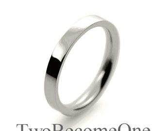 2.5mm 18k White Gold Flat Court Shape Handmade Wedding Ring / Band / 3.2g