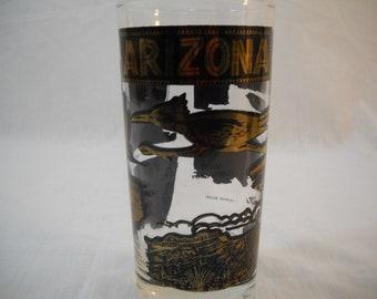 Vintage Arizona Roadrunner Glass Cup Tumbler Souvenir Free Shipping