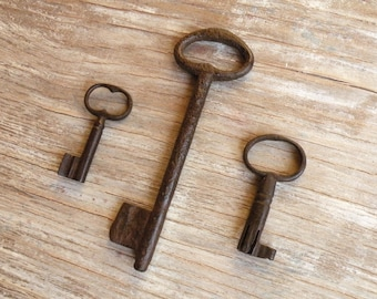 antique keys - french large keys - huge rare key - genuine old keys - 3 iron keys - wedding gift (M-4).