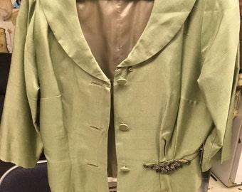 1950's vintage women's green suit