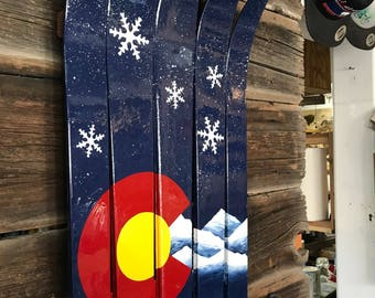 Colorado Flag Mountains Wall Flag Art Hand-Painted on Upcycled Skis