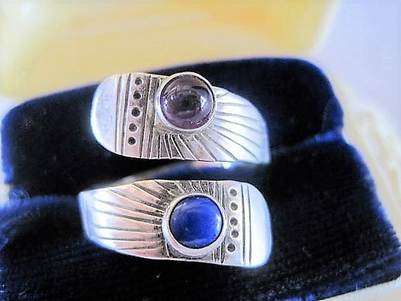 Sterling Stone Ring, Lapis and Amethyst, Modernist Wrap Style- Size 8