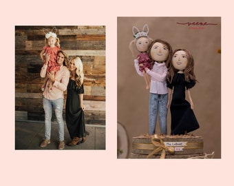 Family portrait dolls, personalised dolls, family gift, customised gift, family miniatures, custom wooden dolls, anniversary gift