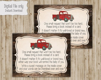 Baby Shower Book Insert, Bring a Book Insert, Bring a Book Instead of a Card, Book Insert Card, Vintage Truck Baby Shower, Red Truck