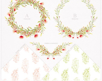 Floral Watercolor Clipart, Hand Drawn Floral Wreath Collection Clip Art, Hand painted wreath, watercolor pattern, watercolor paper