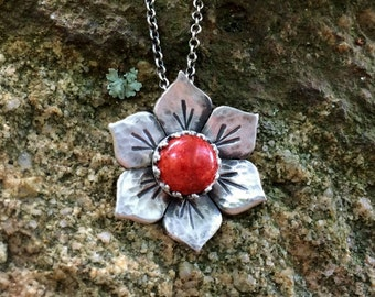 Flower Necklace - Sterling Silver - Floral Necklace for Women - Botanical Jewelry - boho Necklace, Nature Gift for Her