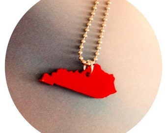 State Jewelry, State Necklace in Red Acrylic, Kentucky Necklace, The Bluegrass State