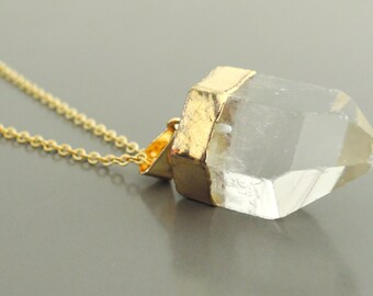 Quartz Necklace - Quartz Point Necklace - Gold Necklace - Gold Edged Crystal Necklace - Bohemeian Necklace - Bridesmaid Gift