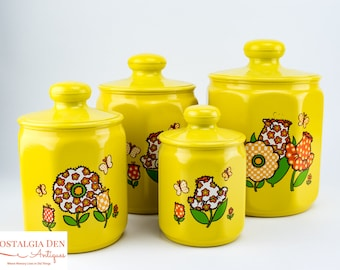 Retro Canister Set | Mod Flower and Butterfly Canisters | Aluminum Kromex  Kitchenware