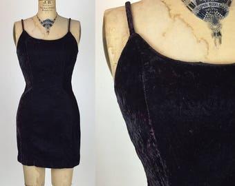 Vtg 90's LBD Rampage Velvet Mini Dress