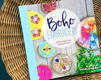 Boho Embroidery Nichole Vogelsinger Modern Textile Embroidery Project Book FREE SHIP