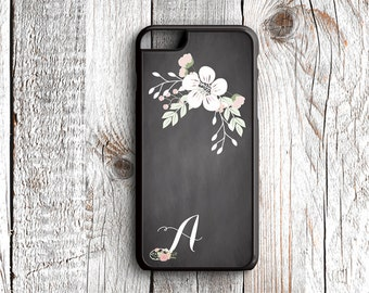 Shabby Chic Flowers - Monogrammed with Initial - iPhone 6s, iPhone 6s Plus, iPhone 7s, iPhone 7s Plus, Samsung S6 Phone Case