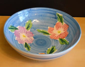 "Large 12.5"" Blue Serving Salad Bowl with Flowers, Pier 1, Italy, Hand Painted, Console Fruit Bowl"