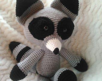 Rocky the Crocheted Stuffed Raccoon Amigurumi