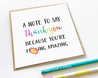 Funny Thank You Card, Mature Content Card, Naughty Card, Swear Card, Adult Card