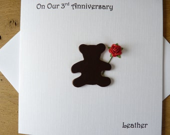 3rd wedding anniversary card three years leather third anniversary