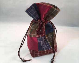 Patchwork Upcycled Drawstring Pouch, Country Plaid Red Green Blue Bag