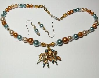 Upcycled Assemblage Necklace,Blue Love Birds Loving ,Enamel pendant,Pierced Earrings set ,OOAK ,Rhinestones ,Crystal beads, Fairy Kei
