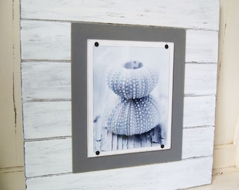 X-tra Large White and Gray Distressed 21x21 Plank Frame for 8x10