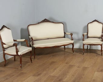 Antique French Louis XVI Style Walnut Three Piece Suite Comprising One Sofa & Two Armchairs (Circa 1860)