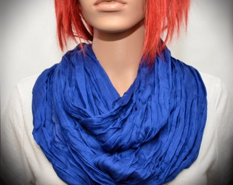 Royal Blue Silk scarf - Infinity scarf