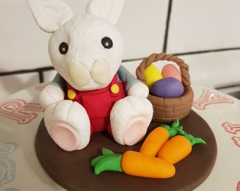 Bunny in Red Overalls with Carrots and a Basket Fondant Cake Topper