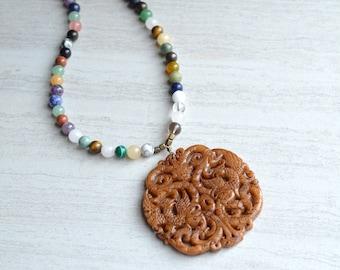 Tai - Multi Gemstone Jade Pendant Long Statement Necklace