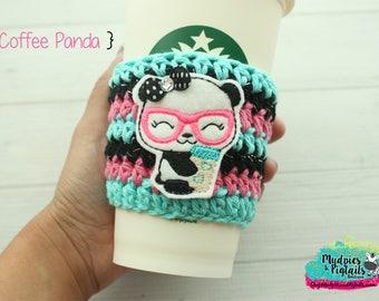 Crochet coffee mug cozy { Coffee Panda } nerd glasses, pink aqua coffee sleeve, teacher gift, coffee lover, knit mug sweater